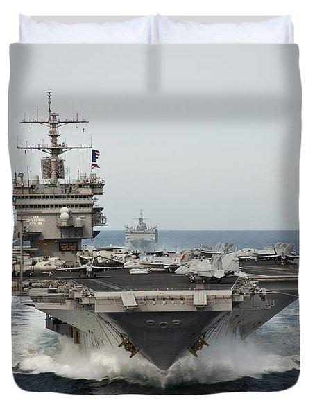 Uss Enterprise Transits The Atlantic Duvet Cover by Stocktrek Images