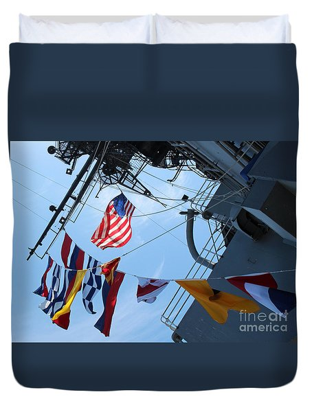 Uss Midway Flag Duvet Cover