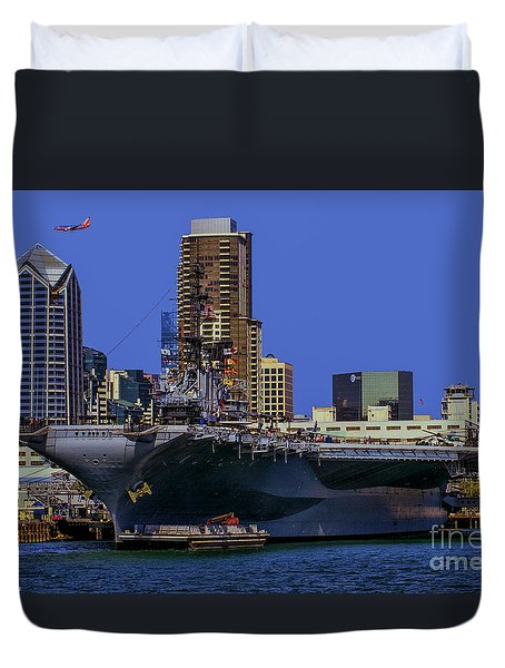 Uss Midway San Diego Ca Duvet Cover by Tommy Anderson