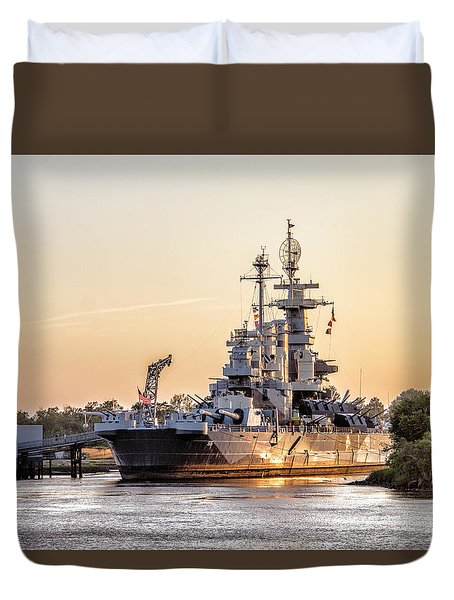 Uss North Carolina Sunset Duvet Cover