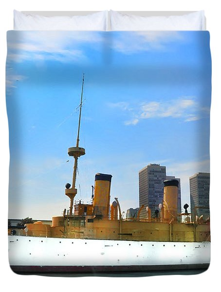 Uss Olympia Duvet Cover by Bill Cannon