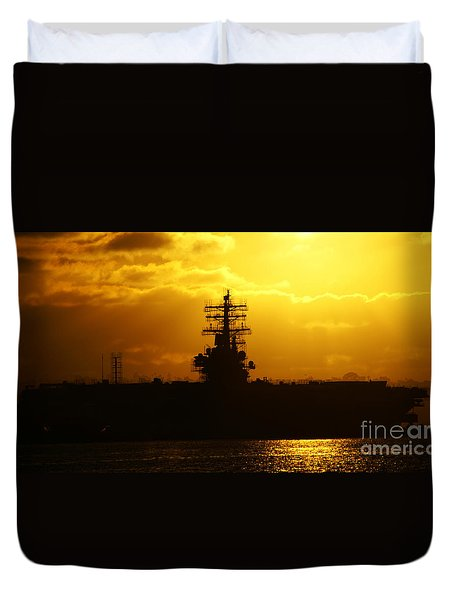 Uss Ronald Reagan Duvet Cover by Linda Shafer