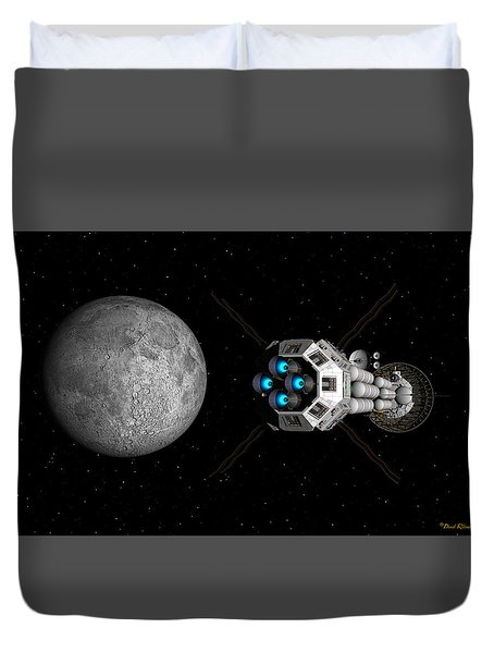 Duvet Cover featuring the digital art Uss Savannah Passing Earth's Moon by David Robinson