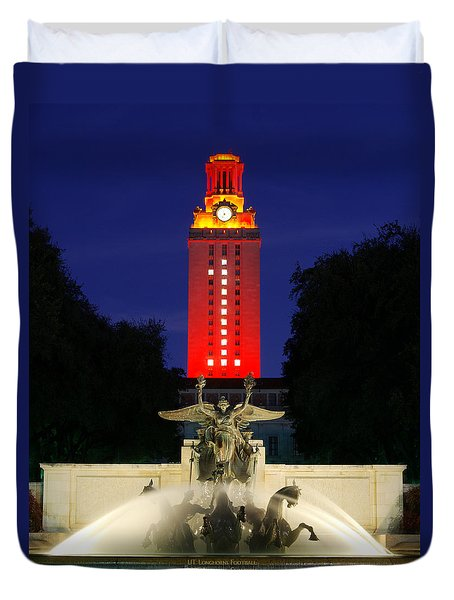 Ut Austin Tower Orange Duvet Cover