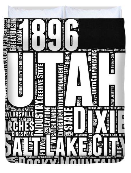 Utah Black And White Word Cloud Map Duvet Cover