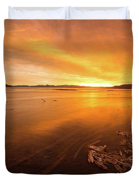 Utah Lake Sunset Duvet Cover
