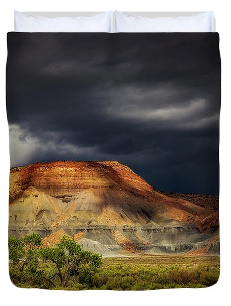 Utah Mountain With Storm Clouds Duvet Cover