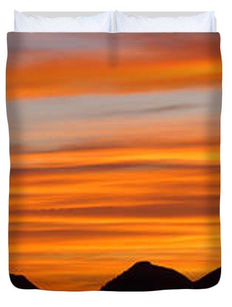 Utah Mountains Sunset Panorama Duvet Cover