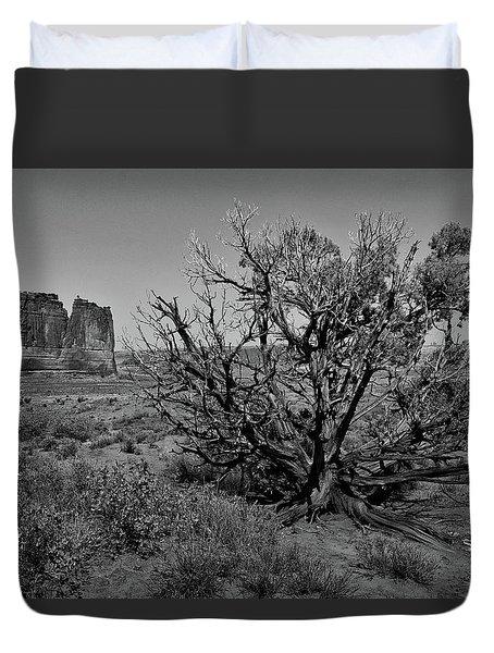 Utah Trees Arches National Park 01 Bw Duvet Cover
