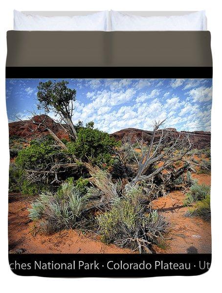 Utah Trees Arches National Park 06 Text Black Duvet Cover