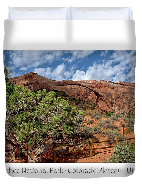 Utah Trees Arches National Park 08 Text Duvet Cover