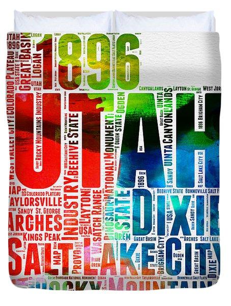 Utah Watercolor Word Cloud Map Duvet Cover