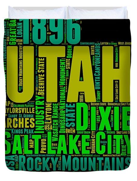 Utah Word Cloud Map 1 Duvet Cover