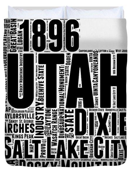 Utah Word Cloud Map 2 Duvet Cover