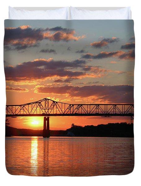 Utica Bridge Sunset Duvet Cover