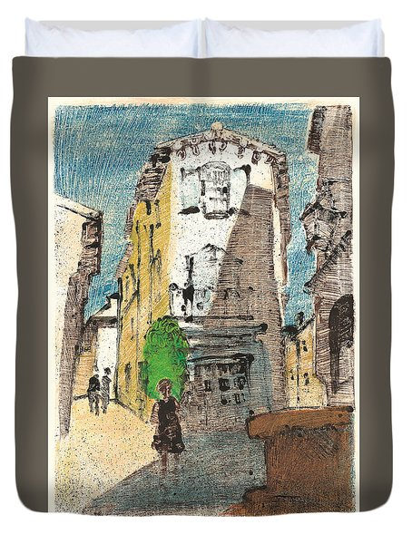 Duvet Cover featuring the painting Uzes Provence by Martin Stankewitz