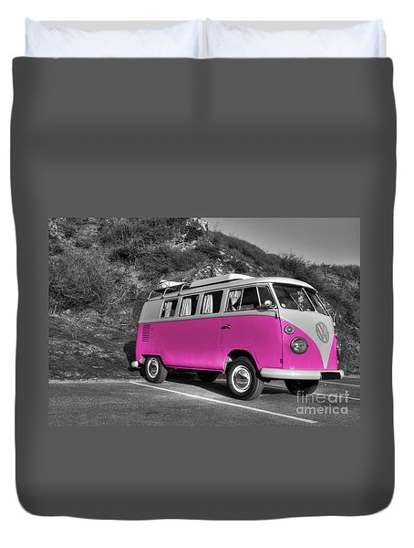 V-dub In Pink  Duvet Cover by Rob Hawkins