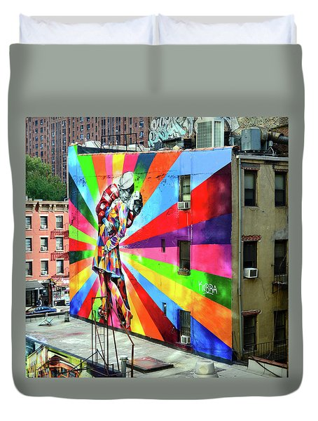 V - J Day Mural By Eduardo Kobra # 2 Duvet Cover