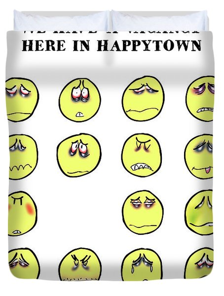 Vacancy In Happytown Duvet Cover