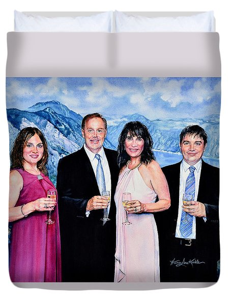 Duvet Cover featuring the painting Vacation Celebration by Hanne Lore Koehler