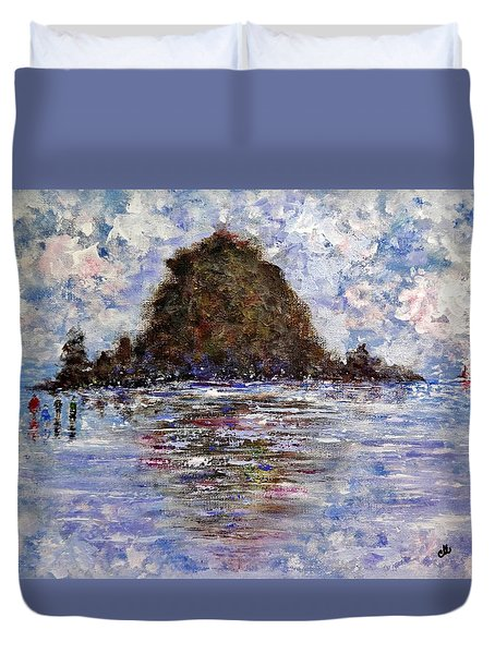 Duvet Cover featuring the painting Vacation Time.. by Cristina Mihailescu