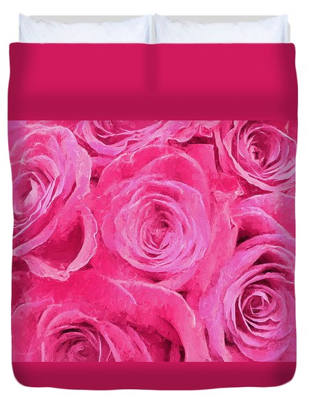 Valentine Bouquet Of Pink Roses Duvet Cover