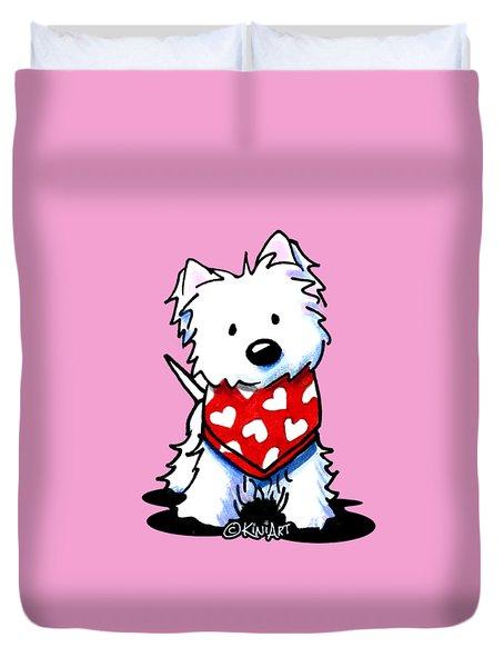 Valentine Westie Duvet Cover