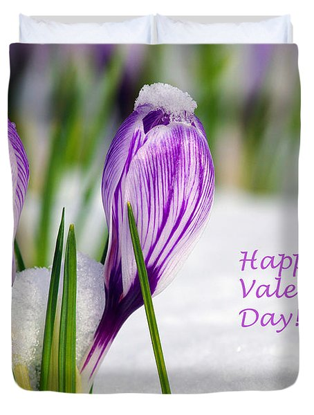 Valentines Day Crocuses Duvet Cover
