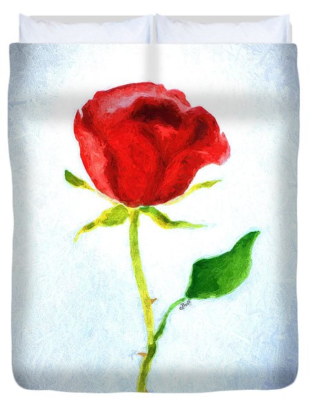 Valentine's Day Rose Duvet Cover by Claire Bull