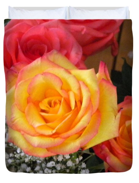 Duvet Cover featuring the painting Valentine's Day Roses 2 by Renate Nadi Wesley