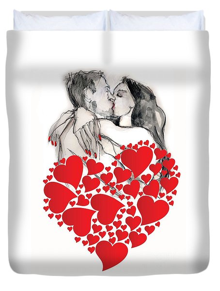 Duvet Cover featuring the painting Valentine's Kiss - Valentine's Day by Carolyn Weltman