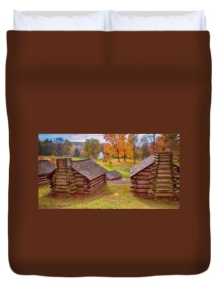 Valley Forge Huts In Fall Duvet Cover