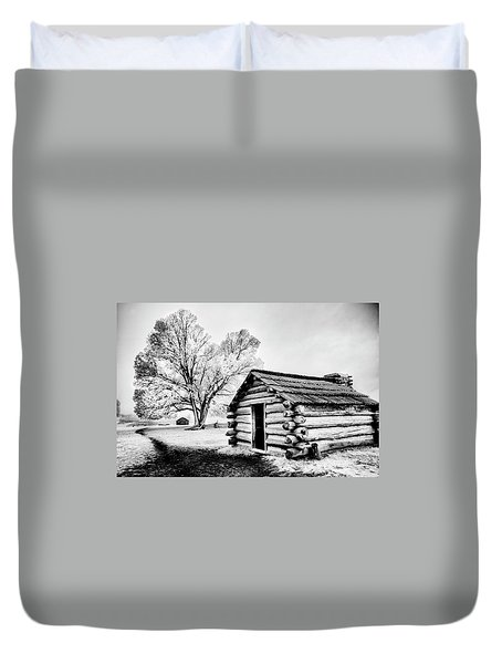 Duvet Cover featuring the photograph Valley Forge Winter Troops Hut                           by Paul W Faust - Impressions of Light