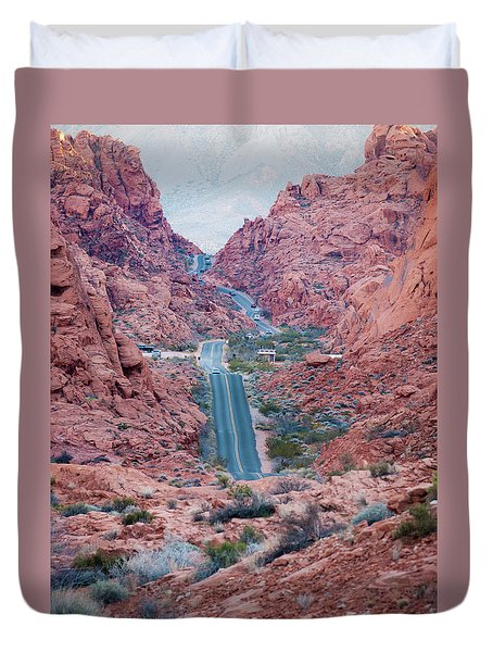Valley Of Fire Drive Duvet Cover by Rae Tucker