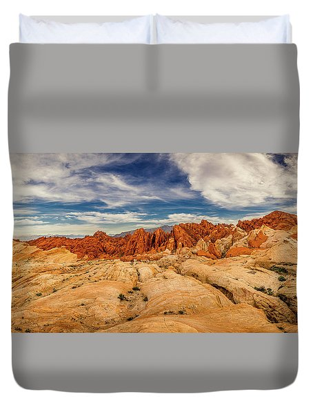 Duvet Cover featuring the photograph Valley Of Fire Panorama by Rikk Flohr