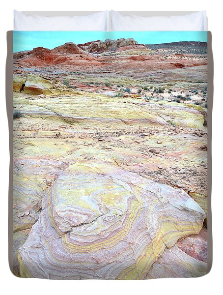 Duvet Cover featuring the photograph Valley Of Fire Pastels by Ray Mathis