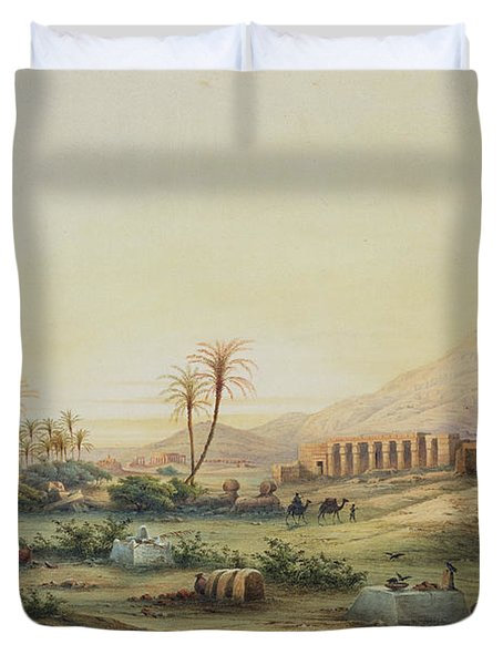 Valley Of The Nile With The Ruins Of The Temple Of Seti I Duvet Cover by Prosper Georges Antoine Marilhat