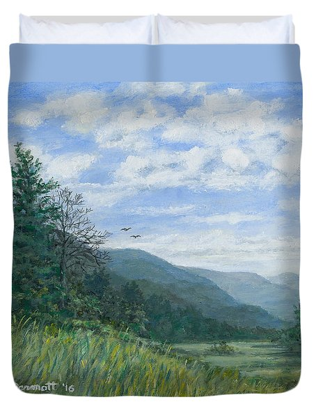 Duvet Cover featuring the painting Valley View by Kathleen McDermott