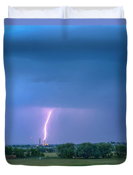 Duvet Cover featuring the photograph Valmont Power Station Boulder Colorado by James BO Insogna