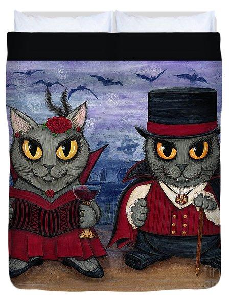 Vampire Cat Couple Duvet Cover