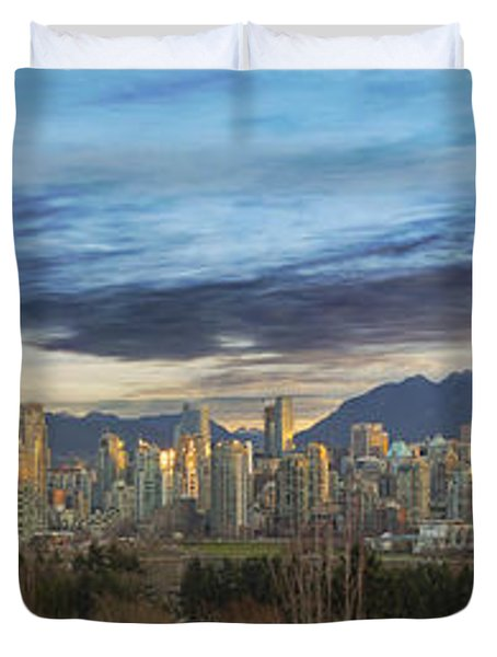 Van City Sunrise Duvet Cover by David Gn