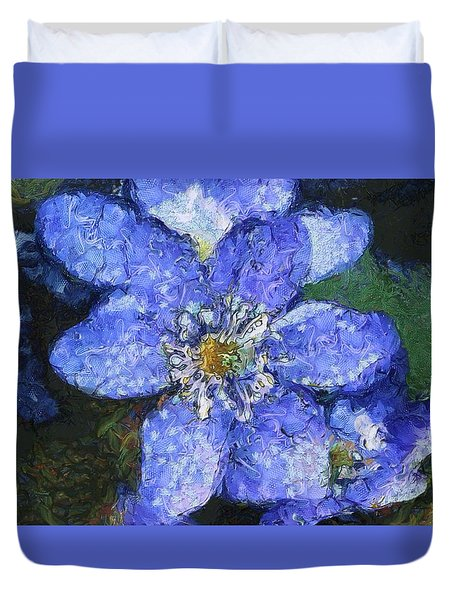 Duvet Cover featuring the painting Van Gogh Blue Flower by Mario Carini