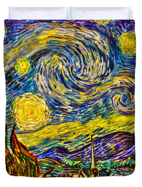Van Gogh's 'starry Night' - Hdr Duvet Cover by Randy Aveille