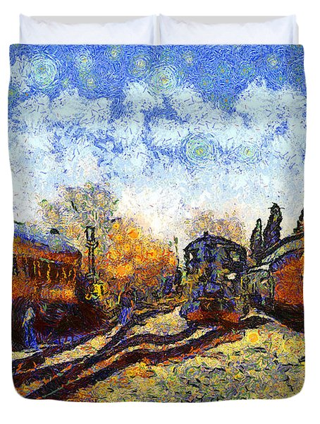 Van Gogh.s Train Station 7d11513 Duvet Cover