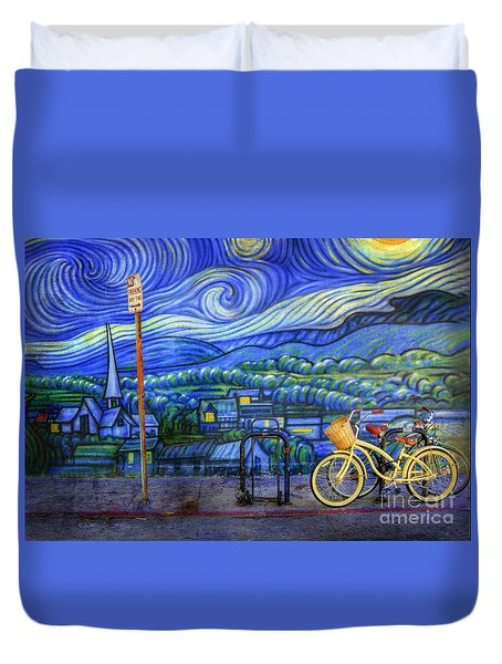 Van Gogh's Yellow And Green Bicycles Duvet Cover