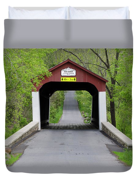 Van Sandt Covered Bridge - Bucks County Pa Duvet Cover by Bill Cannon