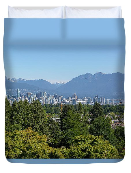Vancouver Bc City Skyline From Queen Elizabeth Park Duvet Cover by David Gn