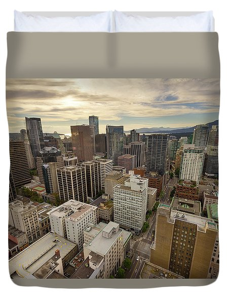 Vancouver Bc Cityscape Aerial View Duvet Cover by David Gn
