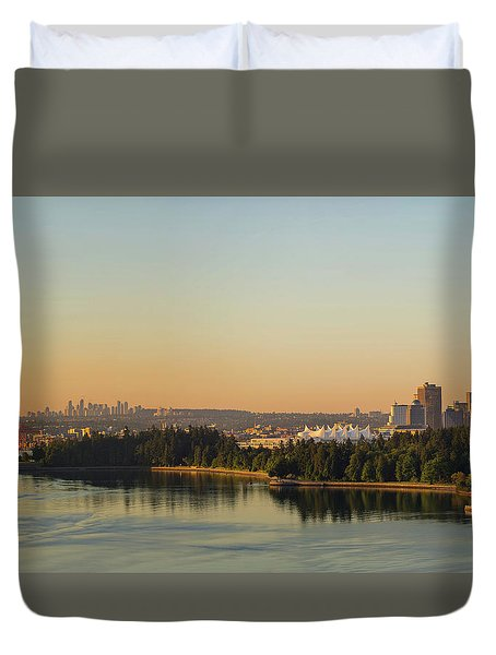 Vancouver Bc Cityscape By Stanley Park Morning View Duvet Cover by David Gn