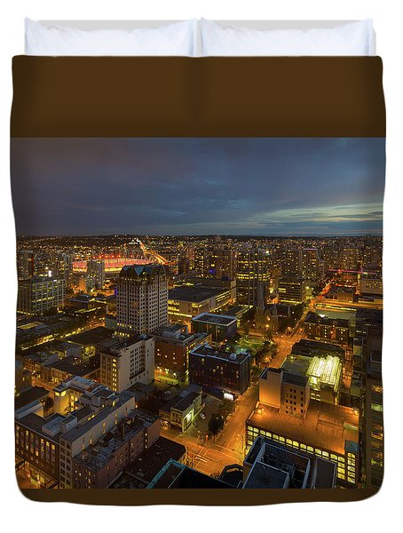 Vancouver Bc Cityscape During Evening Twilight Duvet Cover by David Gn